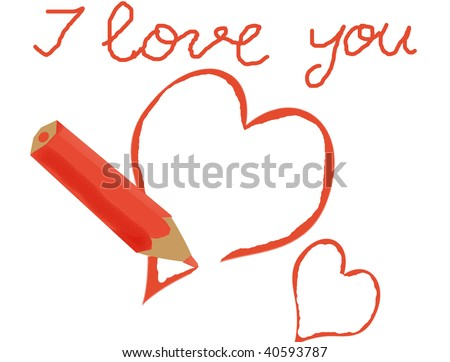 i love you heart drawings. the message #39;I love you