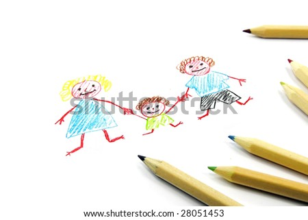 Crayon drawing of happy family on white paper