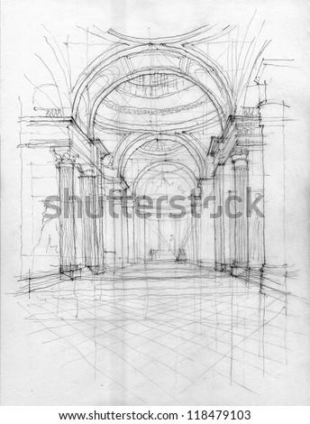 crayon drawing of pantheon...