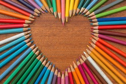 Crayon heart - Heart shape made of colored pencils