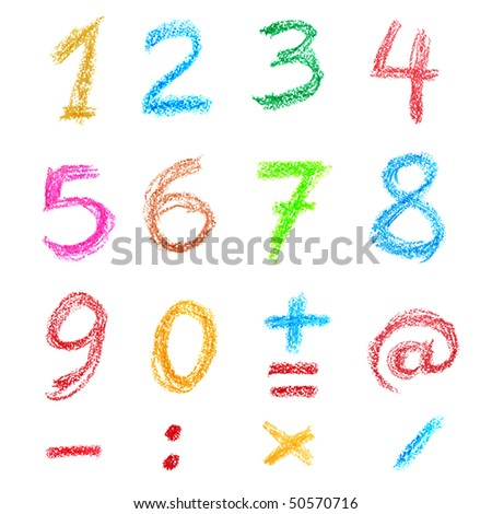 Crayon numbers and signs isolated over the white background