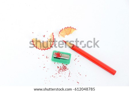 crayon or pencil and sharpener isolated on White Background #612048785