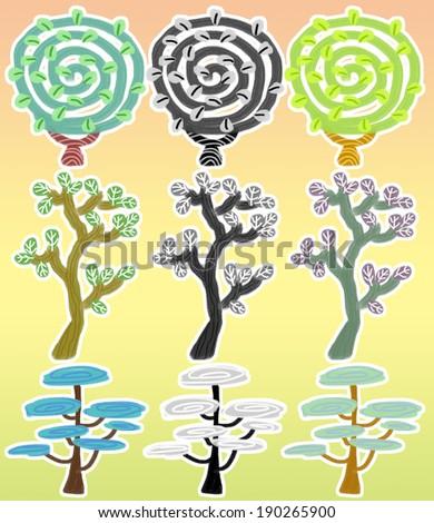 Crayons and a sense of graffiti in tree
