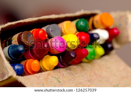 crayons in a pack, the focus in the middle