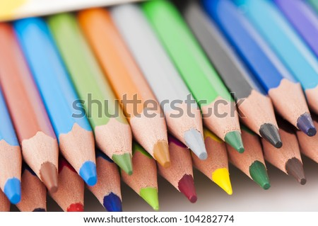 crayons isolated over white background