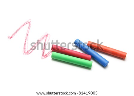 Crayons on Isolated White Background