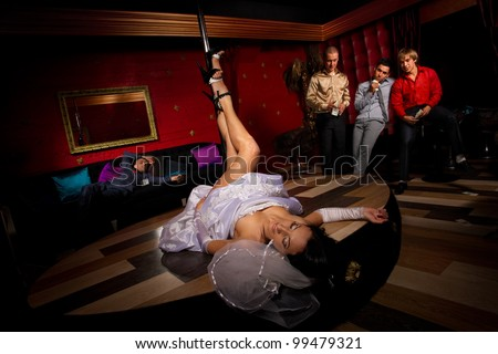 Crazy bachelor's party in strip club