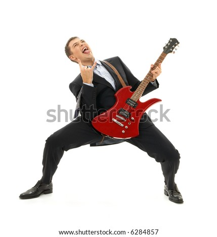 crazy businessman with red guitar over white - stock photo