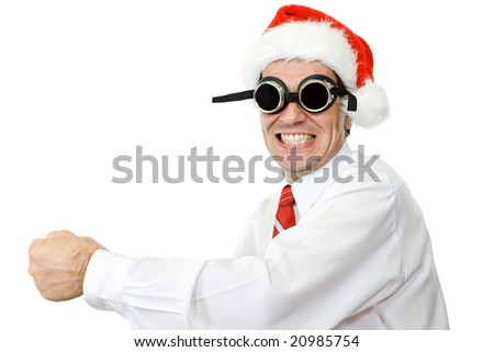 Crazy businessman with santa hat and protective glasses - isolated