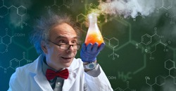 crazy chemist discovering a cure