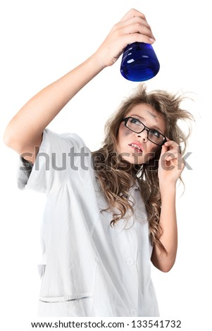 Crazy chemist woman with disheveled hair and vial in hands