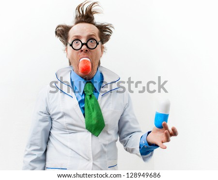 Crazy doctor in glasses swallow bolus