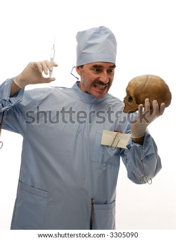 Crazy doctor showing his bare teeth giving injection to a scull