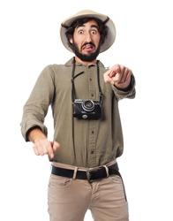 crazy explorer man pointing