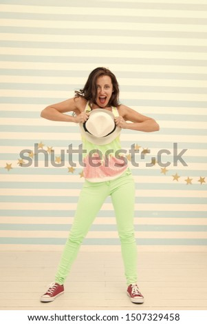Crazy girl in colorful sporty clothes. Stylish and confident. Hip hop woman dancer. Happy and stylish sexy woman. Glamour fashion model. Fashion and beauty. Hipster girl. #1507329458