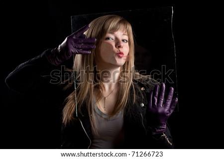 Crazy girl kissing glass 2, black background