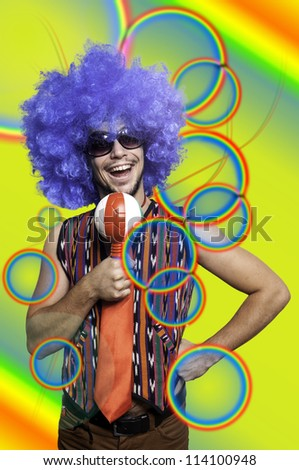 Crazy guy with blue wig on colorful background