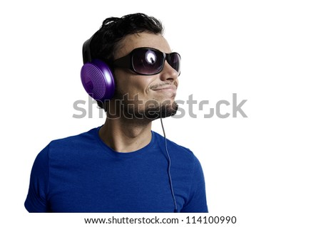 Crazy guy with headphones on white background