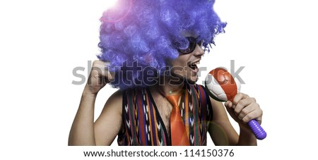 crazy guy with sunglasses and blue wig on white background