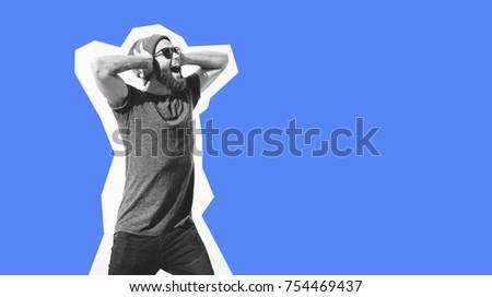 Crazy hipster guy emotions. Collage in magazine style . Fashion short. Hipster. joyful emotions