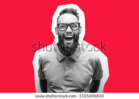 Crazy hipster guy emotions. Collage in magazine style with happy emotions. Discount, sale, season sales. Smart man