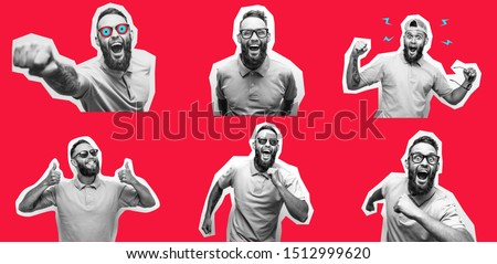 Crazy hipster guy emotions. Collage in magazine style with happy emotions. Discount, sale, season sales. Party people Foto d'archivio ©