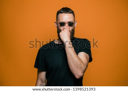 Crazy hipster guy emotions. Human emotions, disappointed, upset. Studio #1398521393