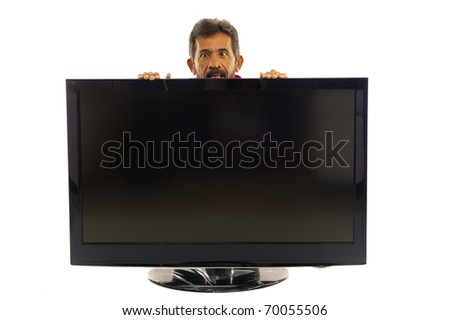 Crazy man behind the big tv on white .