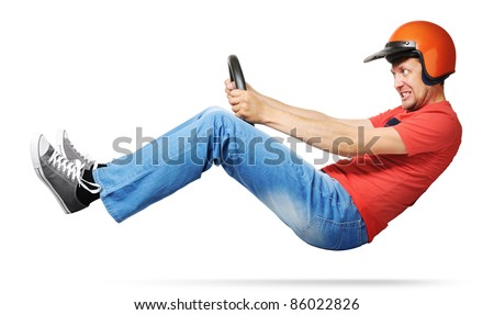Crazy man car driver with steering wheel and a helmet on white background, racing concept