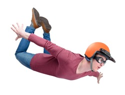 Crazy man in red helmet is flying isolated on white background. File contains a path to isolation.