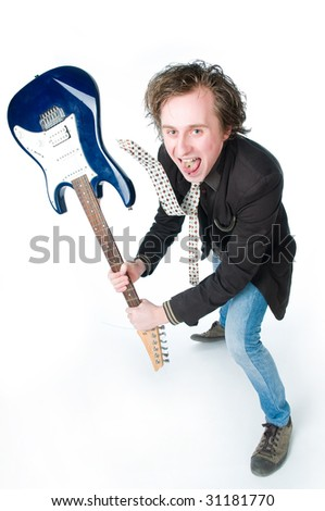 Crazy man with electro guitar, high angle view