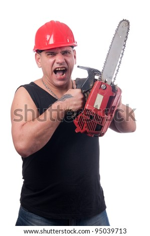 Crazy or mad lumberjack screaming and lifting his electric saw like he's going to attack isolated on white.