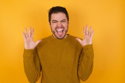 Crazy outraged Young handsome man with beard wearing casual sweater over yellow background screams loudly and gestures angrily yells furiously. Negative human emotions feelings concept