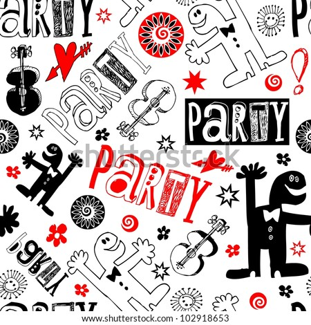 crazy party scribbles isolated on white background