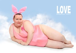 Crazy postcard with funny pink Bunny.  Picture with space for your text.