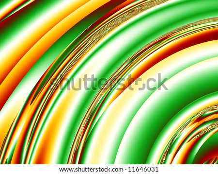 Crazy quarter circles in bright shades of red, green,orange, yellow and white make up a funky beautiful fractal background.