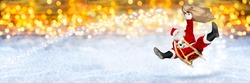 crazy santa claus flying on his sleigh with bag of presents in front of snowy  bright golden lights bokeh wide panorama background