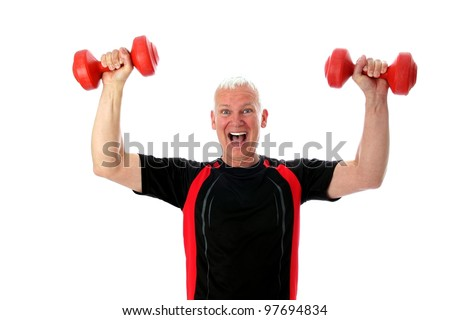 Crazy Senior with two red barbells up