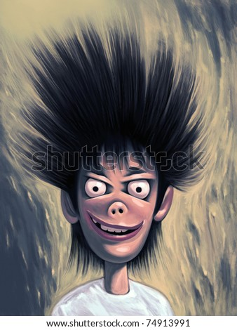 Crazy weird guy with wild hairstyle posing. Looking at you with widely opened round eyes and queer smile