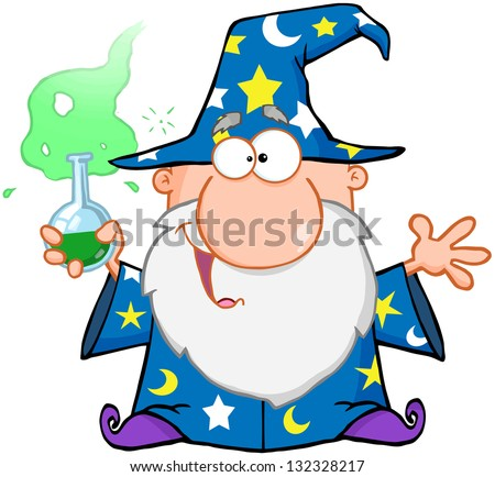 Crazy Wizard Holding A Green Magic Potion. Raster Illustration.Vector Version Also Available In Portfolio.