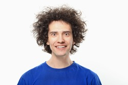 Crazy Young Man Portrait With Afro.