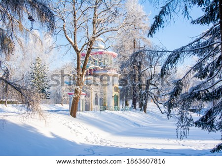 Creaking summer-house at Chinese village in winter in Tsarskoe Selo, Saint Petersburg, Russia Foto d'archivio ©