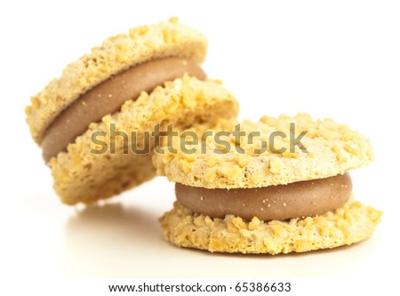 cream biscuits isolated on a white background