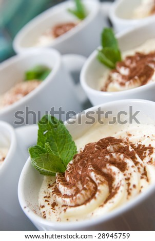 cream cappuccino with mint