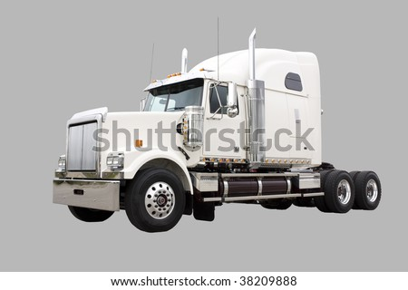 Cream colored transport truck isolated on grey with clipping path included - s