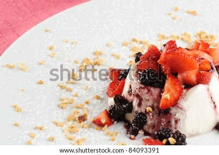 cream cooked with various berries and hazelnut