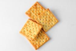 Cream Cracker Biscuit on white background