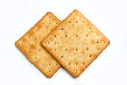 cream cracker on white isolated background