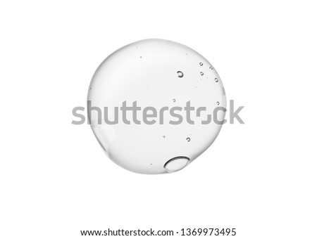 Cream gel transparent cosmetic sample texture with bubbles isolated on white background