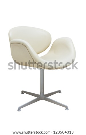 cream leather armchair isolated on white.